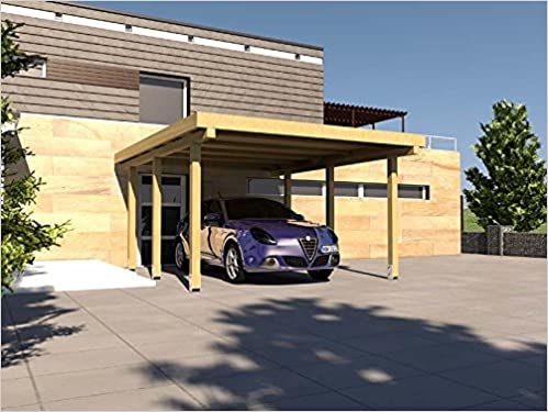 Carport Flachdach SILVERSTONE XIII 400x500 cm Bausatz Flachdachcarport