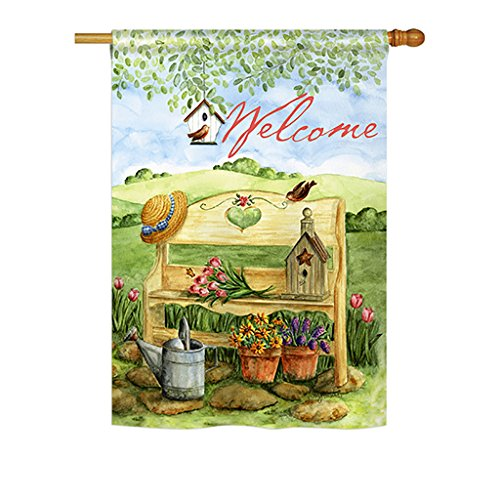 Breeze Decor – Welcome Garden Bench Spring – Everyday Impressions Decorative Vertical House Flag 28″ x 40″ Printed In USA For Sale