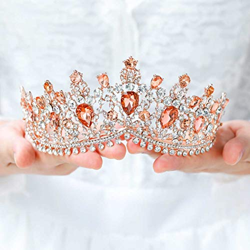 Tgirls Baroque Bridal Wedding Crowns and Tiaras Bride Princess Pink Rhinestone Headband Jewelry for Women and Girls (Rose Gold)