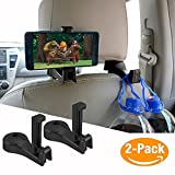 #7: Car Hooks Car Seat Back Hooks with Phone Holder,OCUBE(2 Pack) Universal Vehicle Car Headrest Hooks Hanger with Lock and Phone Bracket for Holding Phones and Hanging Bag, Purse, Cloth, Grocery-Black …