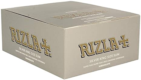 RIZLA SILVER KING SIZE ULTRA SLIM ROLLING PAPER BOX OF 50 BOOKLETS