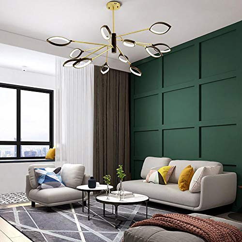 YXTK Sputnik Light Gold,LED Chandeliers Ceiling Lights Ajustable Ceiling Lighting Industrial 12 Arms Pendant for Dining Room Bedroom Livingroom Hallway Kitchen ()