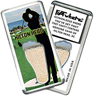 "product image for HIlton Head""FootWhere"" Fridge Magnet (HH205 - Tee Time). Authentic destination souvenir acknowledging where you've set foot. Genuine soil of featured location encased inside foot cavity. Made in USA"