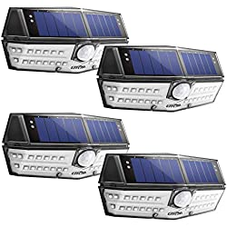 LITOM 30 LED Solar Lights Outdoor, Enhanced IP67 Waterproof Wireless Solar Motion Sensor Lights(White Light), 270°Wide Angle, Easy-to-Install Security Lights for Front Door, Yard, Garage, Deck-4 Pack