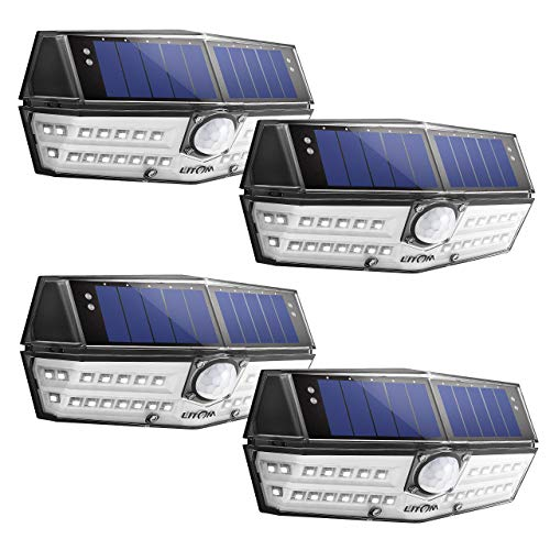 LITOM 30 LED Solar Lights Outdoor, Enhanced IP67 Waterproof Wireless Solar Motion Sensor Lights(White Light), 270°Wide Angle, Easy-to-Install Security Lights for Front Door, Yard, Garage, Deck, 4 Pack