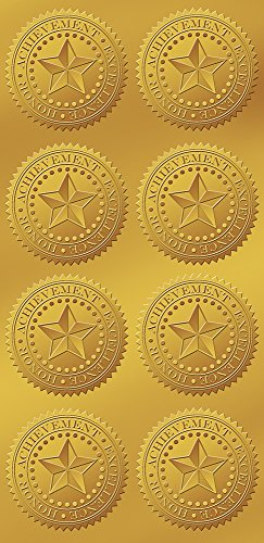 Great Papers! Star Embossed and Gold Foil Certificate Seal, 96 count Gold Star Seal
