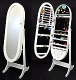 Espejo joyero de forma ovalada con cajoneras de 154 cm de altura en color blanco