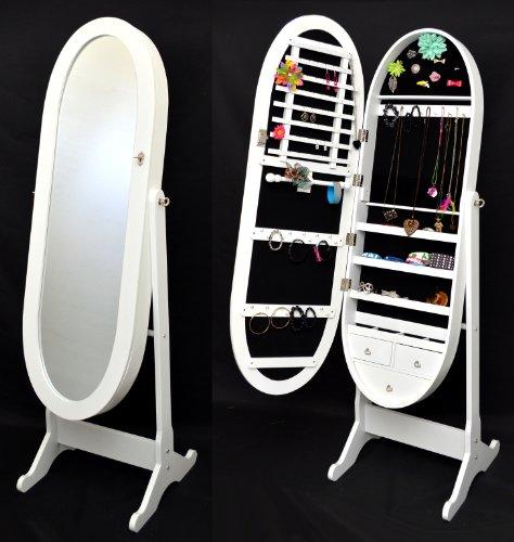 ts-ideen Armoire à Bijoux avec Miroir 148 cm Ovale et Blanc