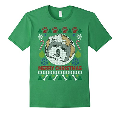 Men's Shih Tzu Dog Breed Ugly Christmas T-shirt 2XL