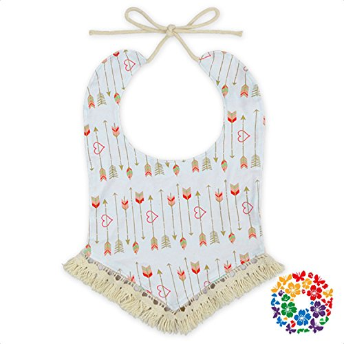 Baby Printed Waterproof Cotton Bib with Fringe Triangle Bibs Handkerchief for Infant & Toddlers - Fringe Bib