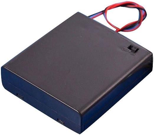 Lorjoyx Negro 4 Pilas AA Interruptor de la Tapa la Caja del sostenedor de batería de 6V Caja Soporte de la batería del Estante del Compartimiento: Amazon.es: Hogar