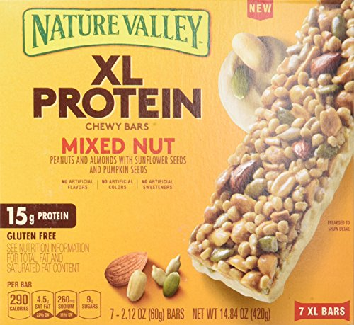 Nature Valley Chewy Granola Bar, XL Protein, Gluten Free, Mixed Nut, 7 Bars, 2.12 oz (Pack of 6) by Nature Valley