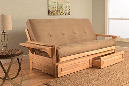 Kodiak Furniture KFPHDNTSPEATLF5MD4 Phoenix Futon with Storage Drawers, Suede Peat