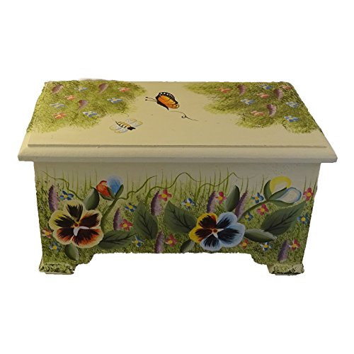 Decorative Box Pansy Floral Design Wooden Boxes Hinged Lid
