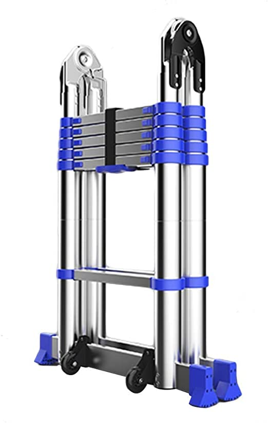 ALYR Portátil Escalera Telescópica, Telescópica Escalera Extensible Escaleras de Mano Multiusos con estabilizador Capacidad de Carga 150kg / 330lb,1.95m/6.4ft: Amazon.es: Hogar