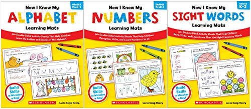 Scholastic Now I Know My Learning Mats Books Set (3 Books) - Alphabet, Numbers, Sight Words
