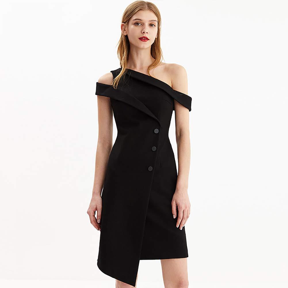 Black Women's Dress Slant Shoulder Design SingleBreasted Waist Short Dress Black