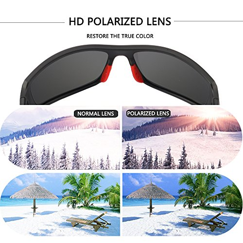 Men's Cycling Outdoor Sports Polarized Sunglasses 100% UV protection Unbreakable TR90 Frame Glasses by JIANGTUN (Image #5)