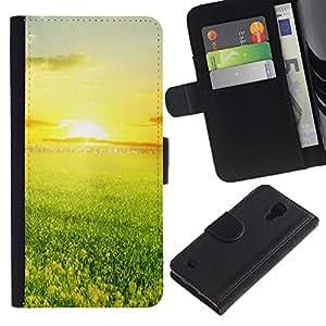Funda Stuss/de piel sintética con tapa - verde y al atardecer - Samsung Galaxy S4 IV I9500