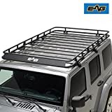 EAG Full Length Roof Rack Cargo Basket for 07-18 Jeep Wrangler JK 4 Door (4.9' x 7.8' x 5.5'')