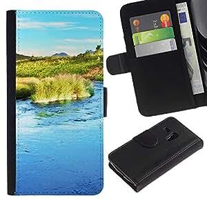 Ihec-Tech / Flip PU Cuero Cover Case para Samsung Galaxy S3 MINI NOT REGULAR! I8190 I8190N - Nature Water