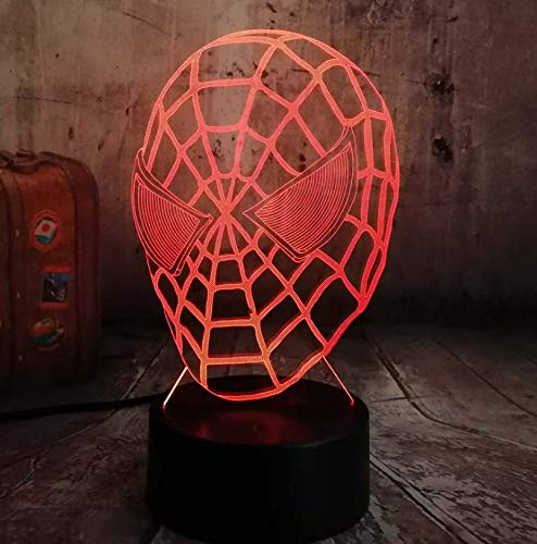 (Marvel The Avengers Spiderman Night Light Remote Control Flashlight 7 Color Change Spiderman Toy Desk Lamp House Bar Home Decoration Kid Toys Xmas Gift (Spiderman Head))