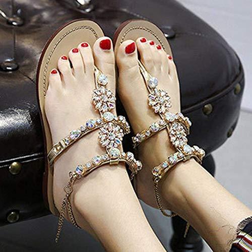 Dimensione Dimensione 8 in Diamante Estate Dimensioni Donna 14 Scintillante Scintillante Personalizzata Oro Bling UK Pelle Sposa Smart Oro Oro Infradito ZHRUI per Sandali Infradito Colore Infradito Sandali Glitter 3 6gSnxI
