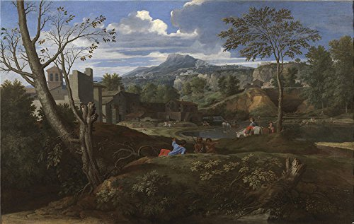 High Quality Polyster Canvas ,the Replica Art DecorativePrints On Canvas Of Oil Painting 'Poussin Nicholas Landscape With Buildings 1648 51 ', 12 X 19 Inch / 30 X 48 Cm Is Best For Game Room Decoration And Home Decoration And Gifts