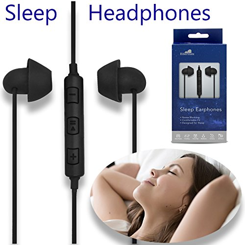 Hibermate Sleep Headphones. Stereo, Sound-Isolating Ear Buds with 3 Interchangeable Tips for Any Ear Size. Use for Sleeping, Sport, Work Outs - Earbuds Include in-line Volume Control and Mic.