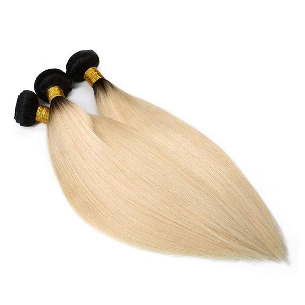 BOBIDYEE 18インチ人間の髪織りバンドルブラジルのヘアエクステンション横糸ストレート#1B / 613ブロンド(1バンドル、100g)合成毛髪のレースのかつらロールプレイングかつら (色 : Blonde, サイズ : 22 inch) B07SD4KGM5 Blonde 22 inch