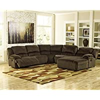 Ashley Furniture Signature Design - Toletta 5-Piece Sectional - Left Arm Facing Recliner with Armless Chair, Wedge & Right Arm Power Chaise - Chocolate