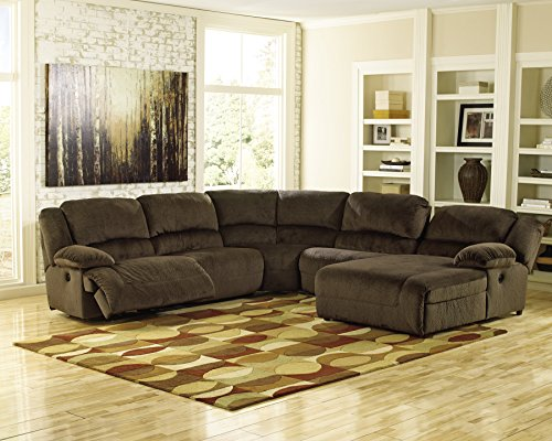 Ashley Furniture Signature Design - Toletta 5-Piece Sectional - Left Arm Facing Recliner with Armless Chair, Wedge & Right Arm Power Chaise - (Sectional Armless Power Recliner)