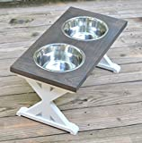 Large Trestle Pattern Farmhouse Dog Bowl Stand