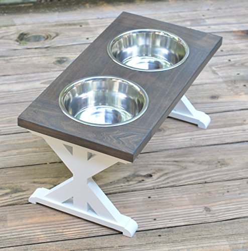 Large Trestle Pattern Farmhouse Dog Bowl Stand by BillsCustomBuilds