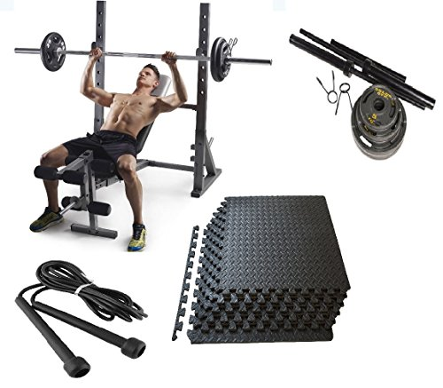 Adjustable Olympic Bench Press, 110lbs Weights, Mats, and Jump Rope by Gold's Gym