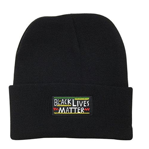 Black Lives Matter Warm Winter Hat Knit Beanie Skull Cap Embroidered Soft Headwear Black