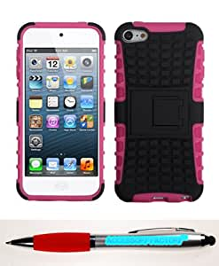 Accessory Factory(TM) Bundle (Phone Case, 2in1 Stylus Point Pen) APPLE iPod touch (5th generation) Rubberized Black Hot Pink Advanced Armor Stand Protector Cover