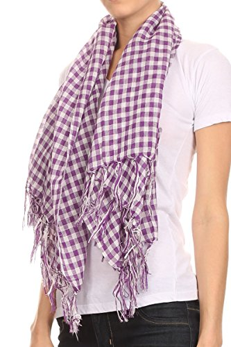AN Fashion Large Square Small Check Plaid Scarf with Tassels - Purple -