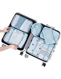 Arxus 6 Set Packing Cubes Travel Luggage Waterproof Organizers (Light Blue)