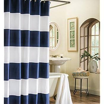 Sweet Jojo Designs Navy And White Chevron Collection Bathroom Fabric Bath Shower Curtain Good