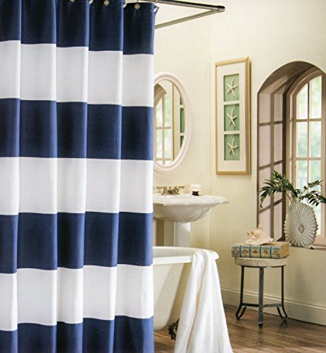 EZON-CH Customize Waterproof Navy Blue White Nautical Stripe Print Polyester Fabric Bathroom Shower Curtain (70x72) (White Curtains Navy And)
