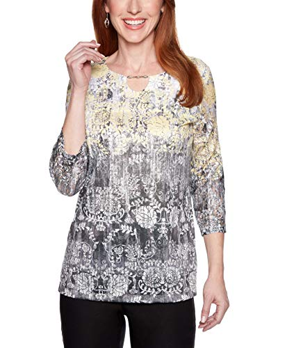 - Alfred Dunner Women's Native New Yorker Floral Scroll Ombre Top (X-Large)