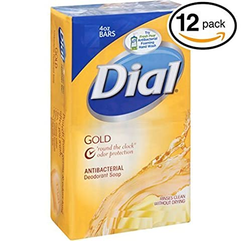 (PACK OF 12 BARS) Dial GOLD Antibacterial Bar Soap. Round the Clock Odor Protection. Leaves Skin Smooth & Radian! Hypo-Allergenic. Great for Hands, Face & Body! (12 Bars, 4oz Each (Dial Bar Gold)