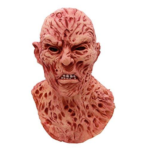 molezu Freddy Krueger Latex Mask, A Nightmare on Elm Street Freddy Krueger Horror Mask, Halloween Costume Decoration Cosplay Party Deluxe Scary (Freddy Krueger Mask For Halloween)