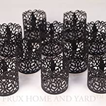 Frux Home and Yard FLAMELESS TEA LIGHT VOTIVE WRAPS- 48 Black colored laser cut decorative wraps for Flickering LED Battery Tealight Candles (not included)