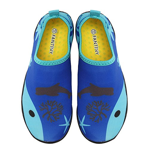 CIOR Kids Water Shoes Quick-Dry Boys and Girls Slip-On Aqua Beach Sneakers (Toddler/Little Kid/Big Kid),W18,1.Blue,39 4