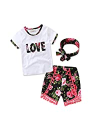 Scfcloth Baby Girls Letter Love Flower Tassel Clothing Set Top + Short +Headband Kids Clothes (5-6Years)