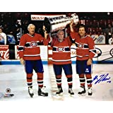 Maurice Richard, Jean Beliveau & Guy Lafleur Signed 8x10 - Montreal Canadiens