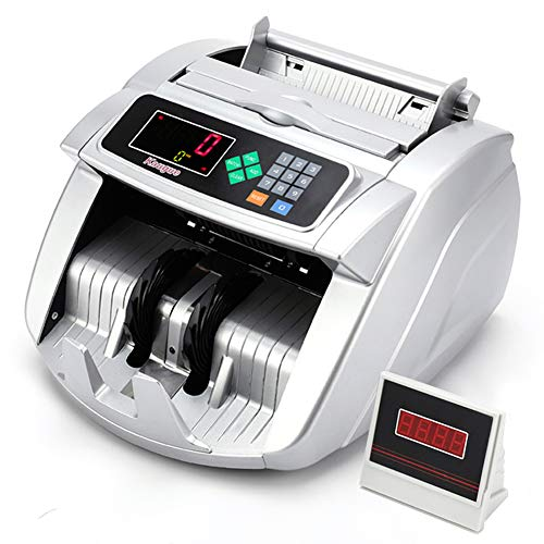 Kaegue Money Counter Bill Counting Machine with UV/MG/IR Detection Business Grade Currency Cash Counter,Counterfeit Bill Detection(Silver)
