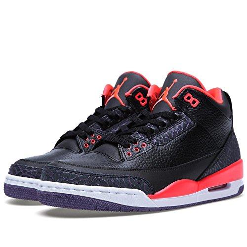 Nike Air Jordan 3 Retro BG Zapatillas de deporte, Niños black/brght crmsn-cnyn prpl-pr